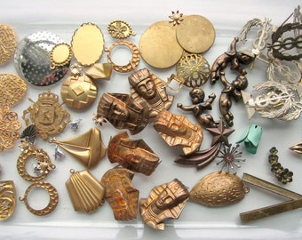 Destash lot assorted metal stampings brass, enamel, silver tone, mostly vintage, filigree, Egyptian, Masonic, cupid etc.