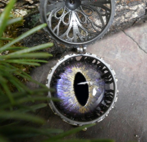 Gothic Steampunk Eye Ball Pendant with Colorshift Lavender Pink Eye