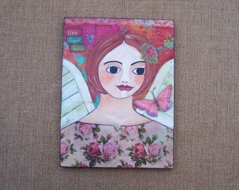 Angel Painting Original one of a kind mixed media encaustic painting Live, Laugh, Love FREE SHIPPING
