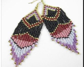 Long Native American Style Beadwork Fringe Seed Bead Earrings in Red, Pink, Purple, Blue & Gold