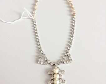 the Bridal Statement Piece-Vintage 50s rhinestone and Pearl Necklace-Bridal jewelry-Prom-Gift