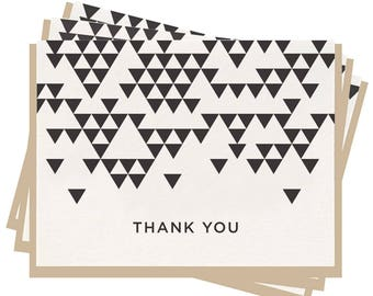 Letterpress 'Thank You Triangle' Folded Greeting Cards - Set of 6