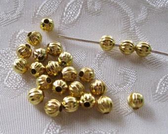 Gold Plated Pumpkin 4mm Spacer Beads 805