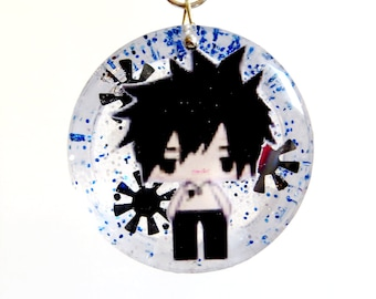 Gray Fullbuster Snowglobe Fairy Tail Circle Resin Pendant Necklace or Keychain