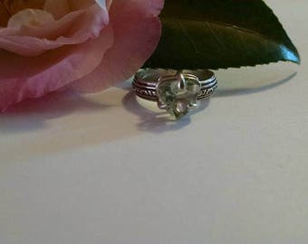 Green Amethyst Prasiolite Sterling Silver Trillion Size 7 Ring Unique Handmade Jewelry Soft Pastel Mint Statement Engagement For Her