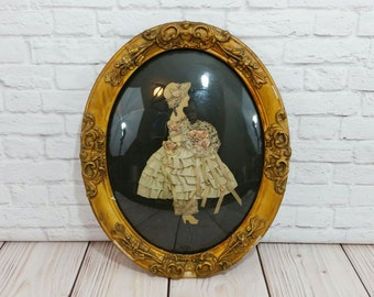 Vintage Victorian Style Girl in Oval Gold Gesso Frame Bubble Glass Ribbon and Lace Paper Art
