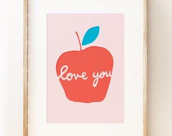 Apple Love You - wall art print