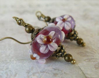 Red and Pink Earrings, Lampwork Glass Bead, Vintage Style Lavender, Red and Pink Floral Bead Dangles, Romantic Inspired Jewelry