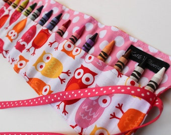Pink Owls Crayon Roll-Girl Crayon Holder-Girl Christmas Gift-Girl Stocking Stuffer-Girl Birthday Gift-Girl Owl Gift-Kid Art Accessory
