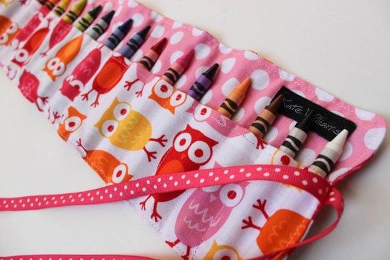 Pink Owls Crayon Roll-Girl Crayon Holder-Girl Christmas Gift-Girl Stocking Stuffer-Girl Birthday Gift-Girl Owl Gift-Kid Art Accessory