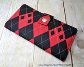 Harley quinn inspired red/black Argyle wallet Handmade Long fandom Wallet - Vegan Wallet - Harlequin Argyle wallet