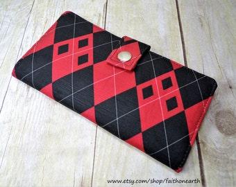 Harley quinn inspired red/black Argyle wallet Handmade Long fandom Vegan Wallet - Harlequin Argyle wallet or half size unisex wallet