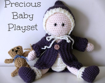 Download Now - CROCHET PATTERN Precious Baby Playset - Baby Doll, Clothes and Teddy Bear - Pattern PDF