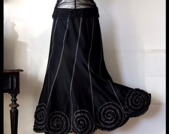 Skirt with rosettes in black taffeta, boho skirt, party skirt, prairie skirt, romantic skirt, goth skirt, black wedding skirt, holiday skirt