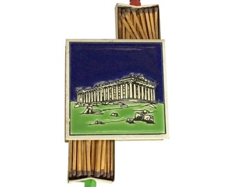 Greek Parthenon Tourist Souvenir   Vintage Match Box   Ceramic Tile   Matches Storage