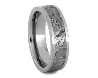 Meteorite Wedding Ring For Him Or Her, Anniversary Gift, Titanium Band, Signature Style