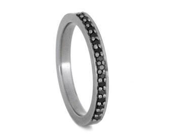 Half Eternity Black Diamond Wedding Band, 10k White Gold Ring For Women, Gemstone Wedding Ring