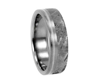 Gibeon Meteorite (4mm) and Sterling Silver inlay Titanium Wedding Band