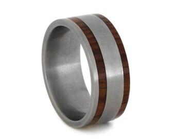 Titanium And Honduran Rosewood Ring, Titanium Inner Sleeve, Mens Wood Wedding Band