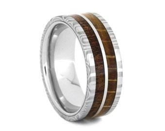 White Gold Wedding Band With 1st Generation Oak Wood And Koa Wood Inlays, Damascus And Wood Ring