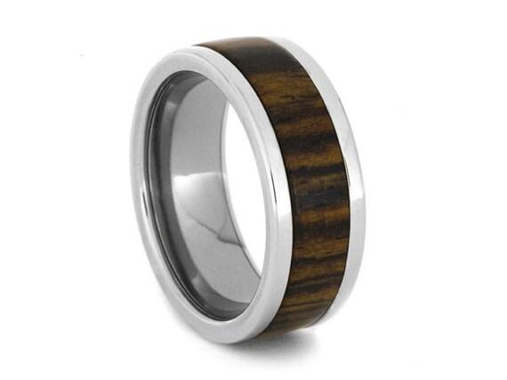 Wood Wedding Band, Titanium Ring Inlaid With Bocote Wood, Statement Ring