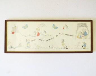 Vintage Framed Children's Print // Vintage Artwork // Vintage Home Decor