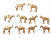 5 Pairs of Brass Standing Horse Charms