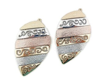 Large Tribal Shield Shaped Tri-tone Textured Drop Charms