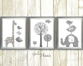 White Gray Nursery wall art, Baby Nursery art, Gender Neutral Nursery, Kids wall art, elephant nursery, giraffe bird Tree - Set of 3 prints