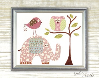 Nursery art prints - baby nursery decor - nursery art - Elephant - Owl - Bird - Pink - Together Forever print