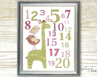 Baby Nursery Art Children Room Decor Numbers girl Birds nursery Giraffe pink green - Elegance Numbers  print