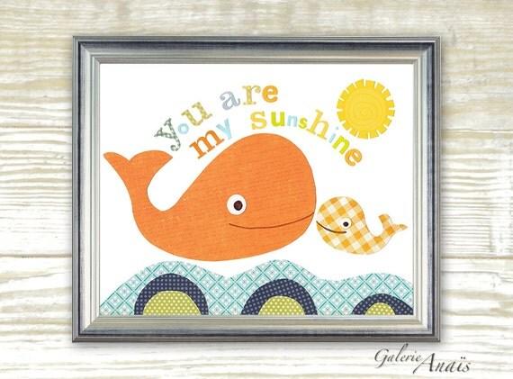 Nautical nursery, Bathroom wall art, baby nursery - nursery decor - nursery wall art - Whale - You Are My Sunshine