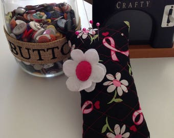 BREAST CANCER Pin Cushion Quilted weighted PINCUSHION Sewing Room Decoration Sewing Notion Black and Pink Ribbon