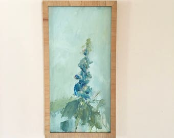 Delphinium Painting-FRAMED in Natural Wood Frame- Blue Delphinium-   20 x 10 Blue and Aqua Gray -Painted on Canvas Panel