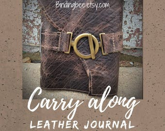 Elegant rugged leather journal /blank recycled paper/slide leather latch by Binding Bee
