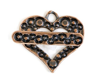 Dotted Heart Copper Plated  Toggle Clasp 43498 (1) Copper Jewelry Clasp, Heart Toggle Clasp, Necklace Toggle Clasp, Bracelet Toggle Clasp