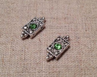 Sterling Silver Spacer with Peridot Swarovski Crystal / 2 Hole / 15mm x 6mm