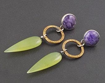 Charoite and Green Aventurine Earrings, long dangle earrings, purple green and gold, mixed metal earrings, silver brass, boho earrings