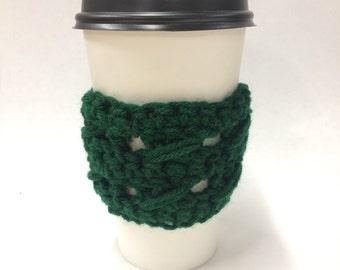 Dark Green Coffee or Tea Cozy with design