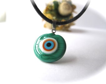 Moss Green Evil Eye Pendant Necklace
