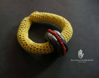 Fiber and  Polymer Clay Bangle Bracelet - Yellow with Black and Red Bead