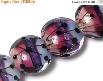 ON SALE 40% OFF Four Purple Rainbow Lentil Beads 10605012 - Handmade Glass Lampwork Bead Set