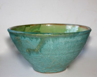 Ceramic Stoneware Mixing Multipurpose Bowl Turquoise and Spring Green