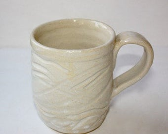 Stoney White Mug in Stoneware Holds One and One Half Cups   Carved Surface One of a Kind