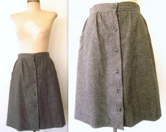 70s 1970s Vintage GREY WOOL A-Line Button Schoolgirl Collegiate Skirt xs/sm