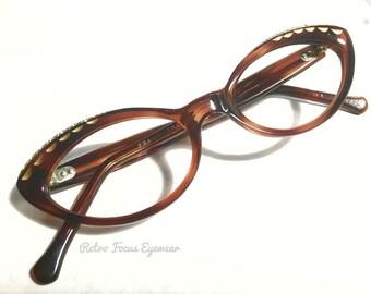 French Cat Eye 1960's True Vintage France Oval Rhinstone Eyeglass Frames Eyewear Eyeglasses