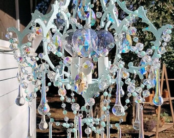 Sold - Antique Cage Chandelier, Destiny Petite Chandelier, Aqua Chandelier, Vintage Lighting, Crystal Chandelier, Home Decor