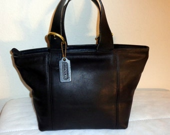 Coach  Waverly jet black buttery  leather  m size top zip  tote satchel handbag mod 4133 vintage 90s absolutely awesome