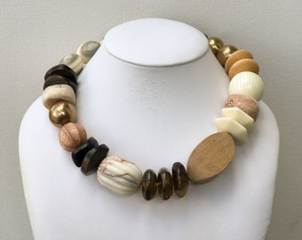 Necklace 2.29 - handmade beaded asymmetrical one of a kind neutral statement necklace featuring vinage lucite wood metal ceramic beads
