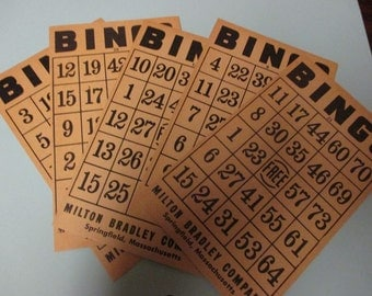 Crafters Job Lot of 5 Paper Bingo Cards from Milton Bradley